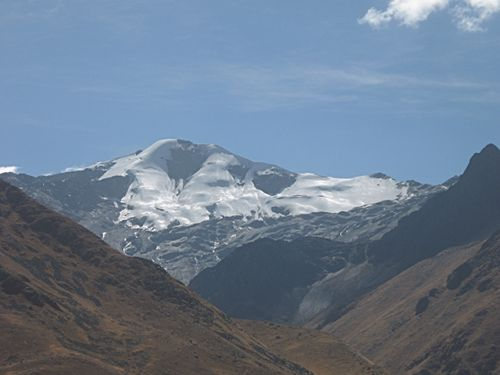 Andean Mountain with shrinking ice fields